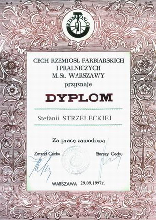 Dyplom Stefanii Strzeleckiej